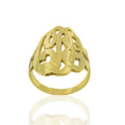 24K gold over Sterling Silver monogram Ring