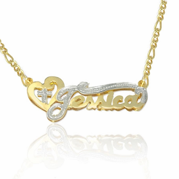 10K Yellow Gold Double-Plate Rhodium Beaded Name Necklace