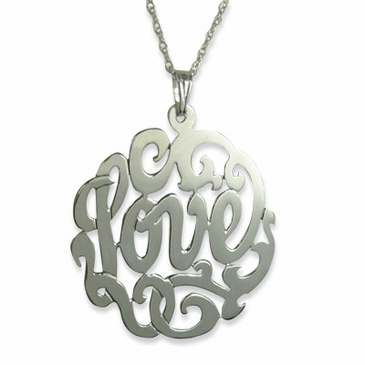 "Sterling Silver Scroll ""Love"" Necklace with 18"" Link Chain"