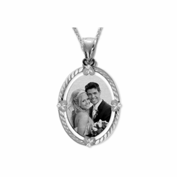 Sterling Silver Oval Shaped portrait Pendant with Dia Cut Frame