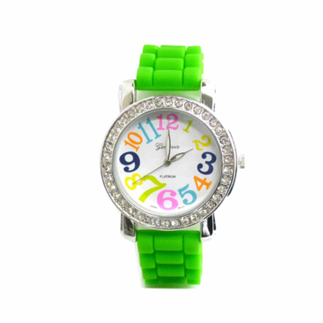 "Geneva Silicon watch with Crystals 1 1/2"" face"