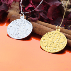 Sterling Silver Handmade Engraved Monogram Necklace