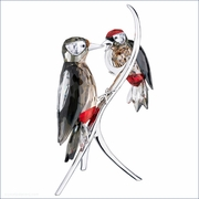 Swarovski  Artist Signed Woodpeckers, Black Diamond