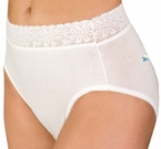 Wearever Lace Trimmed Waist Unique-Dri Incontinence Cotton Panty