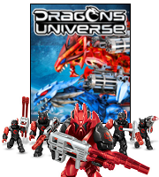 Mega Bloks Dragons figures posing in front of Dragons Universe placard.