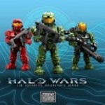 Three Halo Wars Mega Bloks Figures standing over the Halo Wars logo.