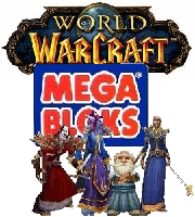 World of Warcraft figures posing in front of Mega Bloks logo.