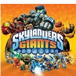 Tree Rex, Eruptor and Crusher shoving Skylander's GIANTS logo to front.