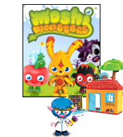 Building Block Toy in front of Moshi Monsters logo.