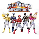 The MegaForce Rangers under their logo.