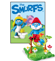 Smurfs Building Block Toy in front of Smurfette and Papa Smurf.