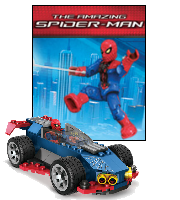 Mega Bloks Spidey Racing Car parked in front of Spider-Man Placard.