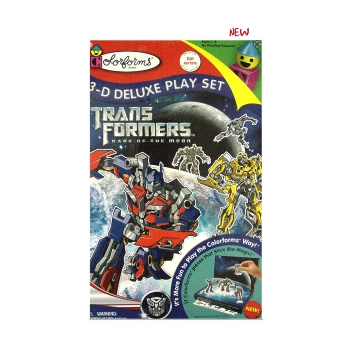 toy named Transformers 3D Deluxe Playset officially licensed by Colorforms.