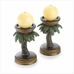 Tropical Palm Tree Candle Holders