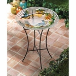 Lush Garden Glass Bird Bath