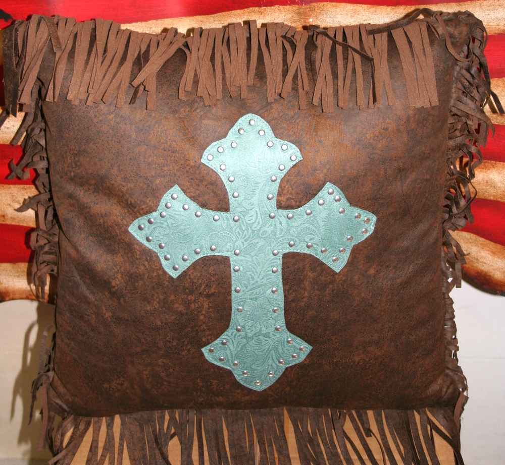 Western Tooled Turquoise Cross Throw Pillow Leather Look