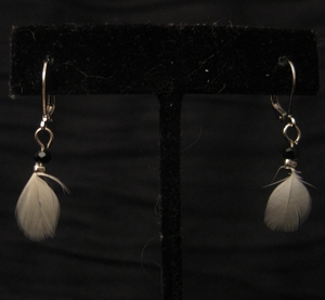 Silver with White Feather and Black Swarovski