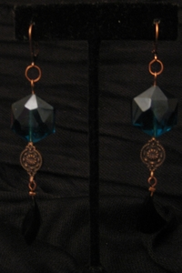 Antique Copper with Black Feather and Dark Turqoise Crystal
