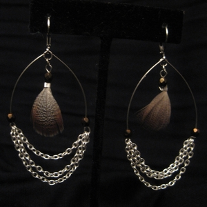 Silver with Brown Feather and Brown Swarovski