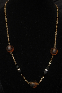 """18"""" Antique Gold with Tiger Glass Bead and Swarovski Bead"""