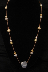 """20"""" Floating Glass Beads with Chalcedony"""