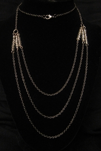 """30"""" Dark Silver with Clear Crystal Beads"""