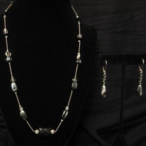 """20"""" Floating Glass Beads with Black Onyx Set"""
