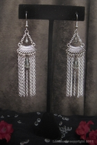 Silver Chanderlier-chain fountain w/ gray swarovski crystal