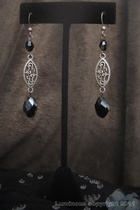 Antique Silver Dangle-black glass charm