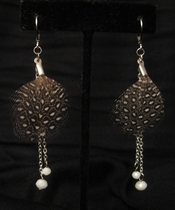 Silver with Brown Feather and White Swarovski