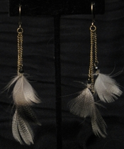 Antique Gold with Brown Feather and Black Swarovski