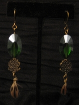 Antique Gold with Brown Feather and Green Crystal