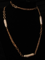 """30"""" Gold with Freshwater Drop Shape Pearl"""