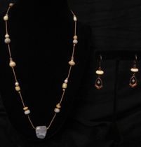 """20"""" Floating Glass Beads with Chalcedony Set"""