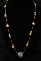 "20"" Floating Glass Beads with Chalcedony"