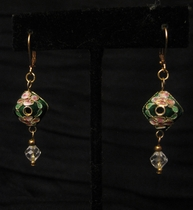 Gold Charm Pink Flower Green leaf with Clear Swarovski
