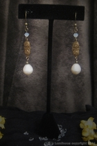 Antique Gold Dangle-freshwater white pearl