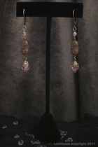 Antique Gold Dangle-pink swarovski crystal