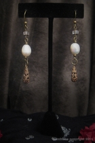 Antique Gold Dangle-white freshwater pearl