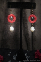 Antique Gold Dangle-white freshwater pearls