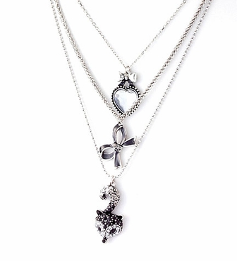 Jet Crystal Fox Bow and Heart Triple Strand Necklace
