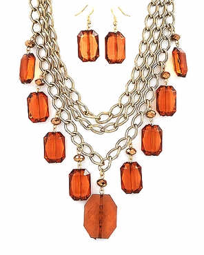 Triple Strand Multi Topaz Drops Necklace & Earrings Set