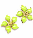 Crystal and Enameled Tropical Flower Earrings