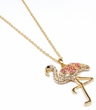 Crystal Flamingo Pendant Necklace