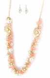 Coral & Pearl Beaded Cluster Floral Necklace