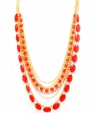 Coral Beaded Mixed Chain Necklace