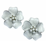 Enameled Flower Pearl Earrings