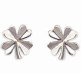 Four Leaf Clover Polished Post Earrings
