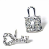 Crystal Lock and Key Earrings