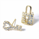 Golden Crystal Lock and Key Earrings